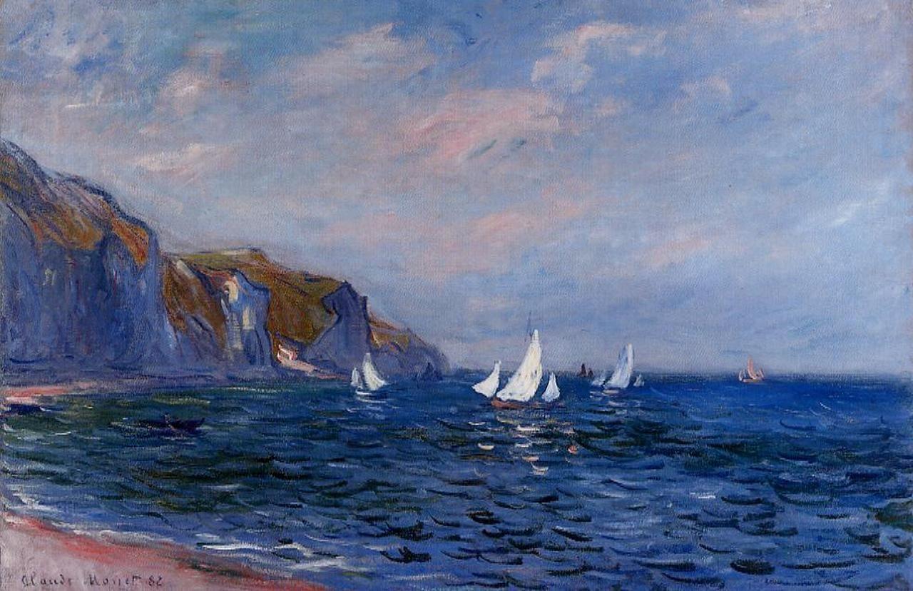 скалы и море < Скалы и парусные шлюпки близ Пурвилля >:: Клод Моне, описание картины - Claude Monet фото