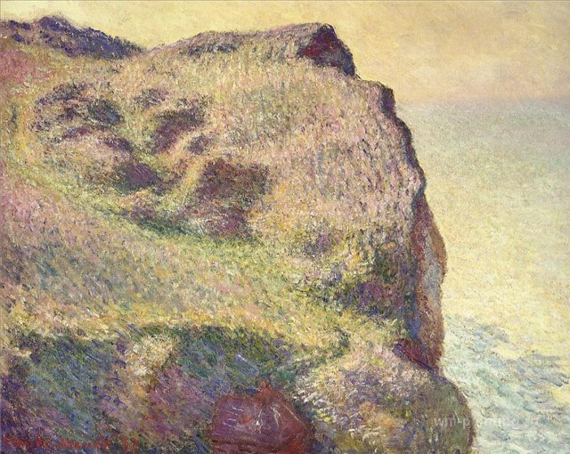 скалы и море < Верхушка скалы, Пти Альи >:: Клод Моне, описание картины - Моне Клод (Claude Monet) фото
