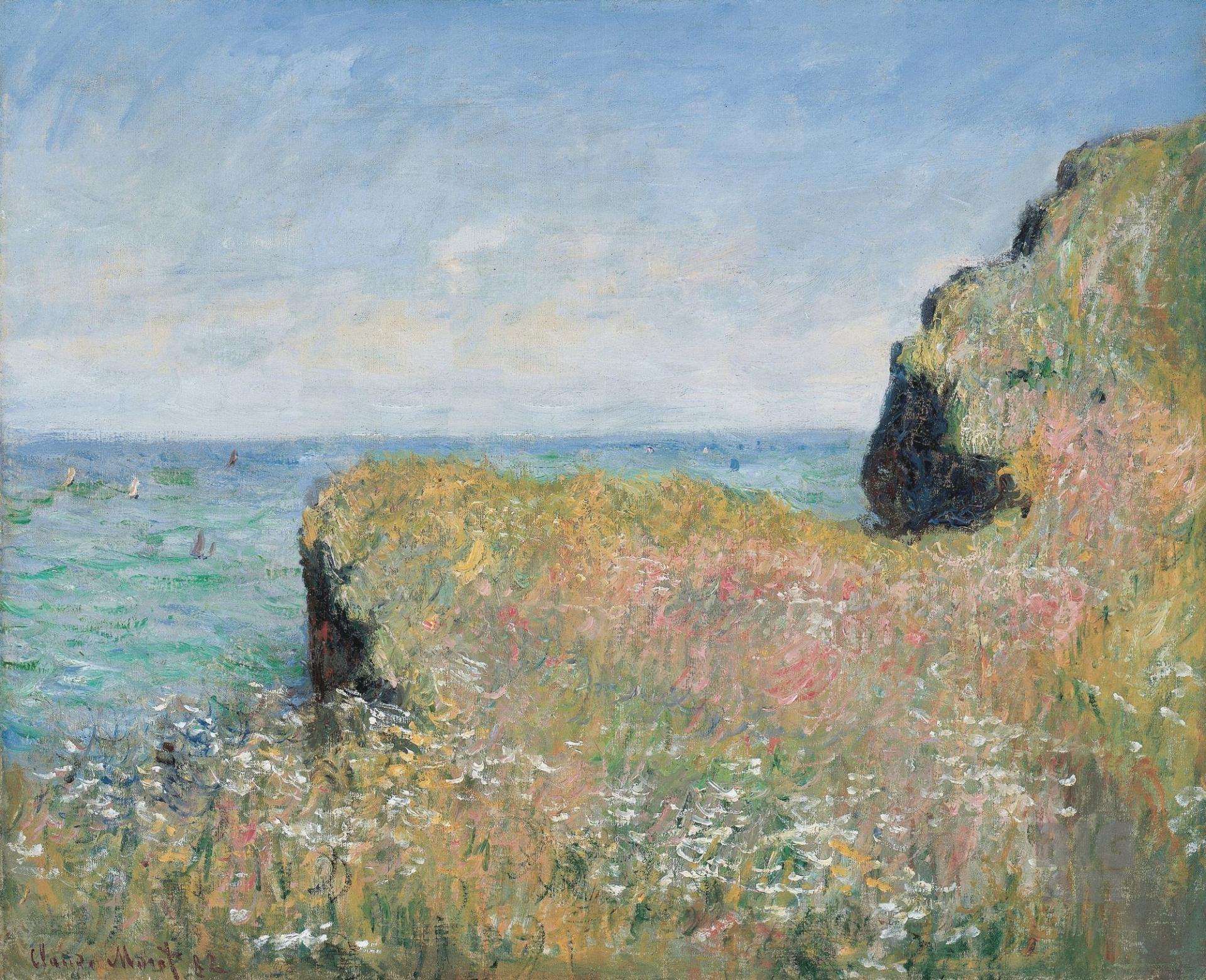 скалы и море < Край скалы, Пурвилль >:: Клод Моне, описание картины - Claude Monet фото