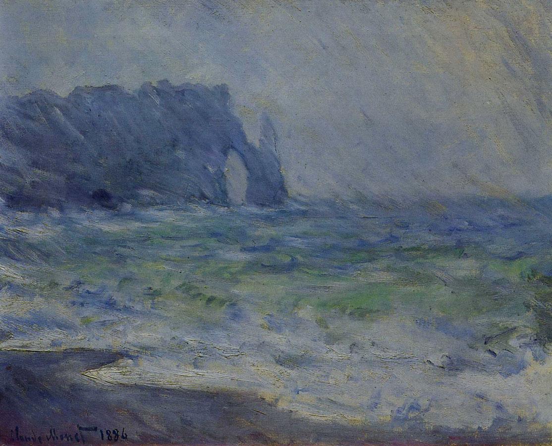 скалы и море < Этрета под дождём >:: Клод Моне, описание картины - Моне Клод (Claude Monet) фото