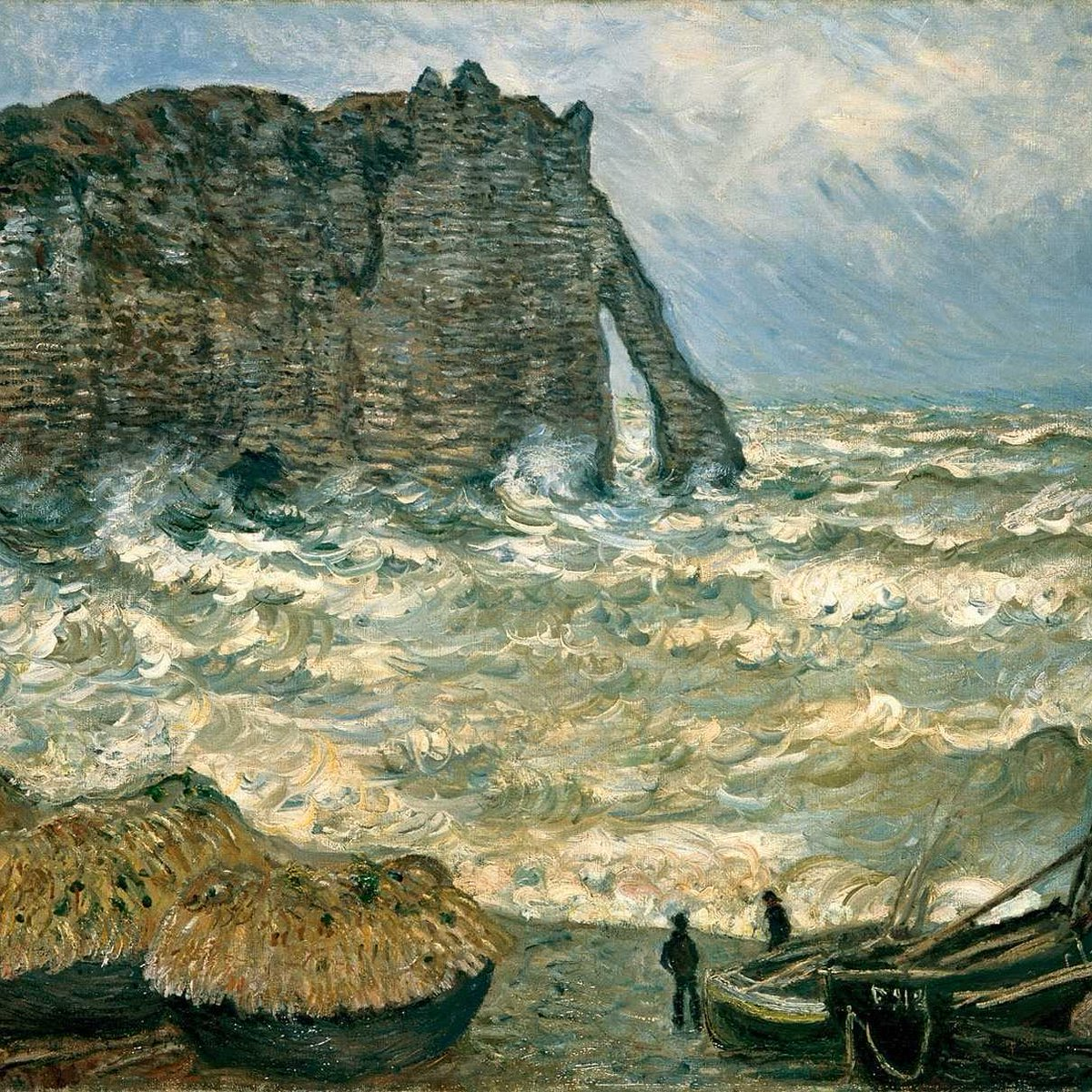 скалы и море < Этрета, бурное море >:: Клод Моне, описание картины - Claude Monet фото