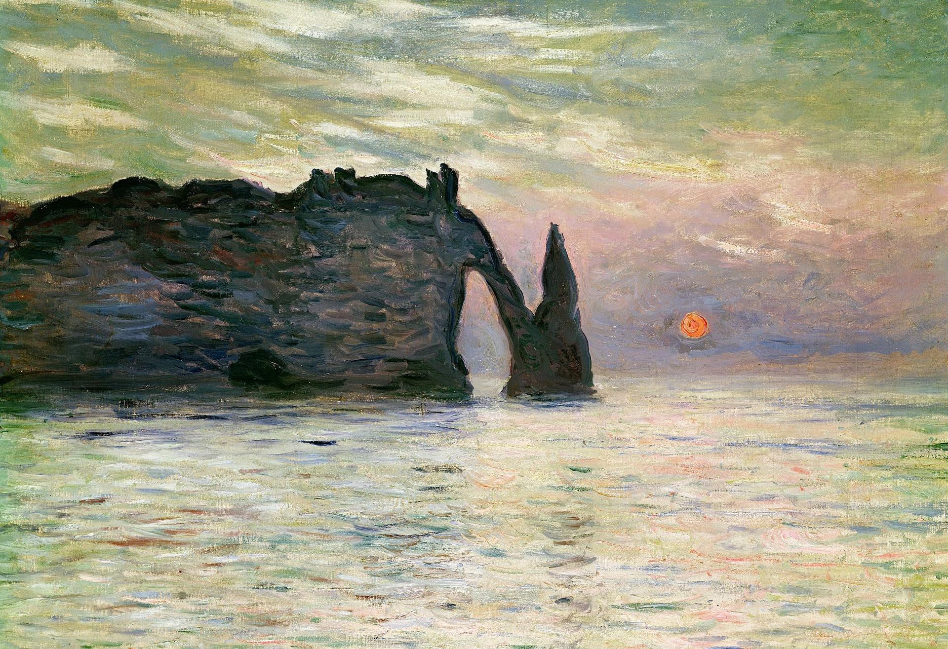 скалы и море < Этрета, закат >:: Клод Моне, описание картины - Claude Monet фото