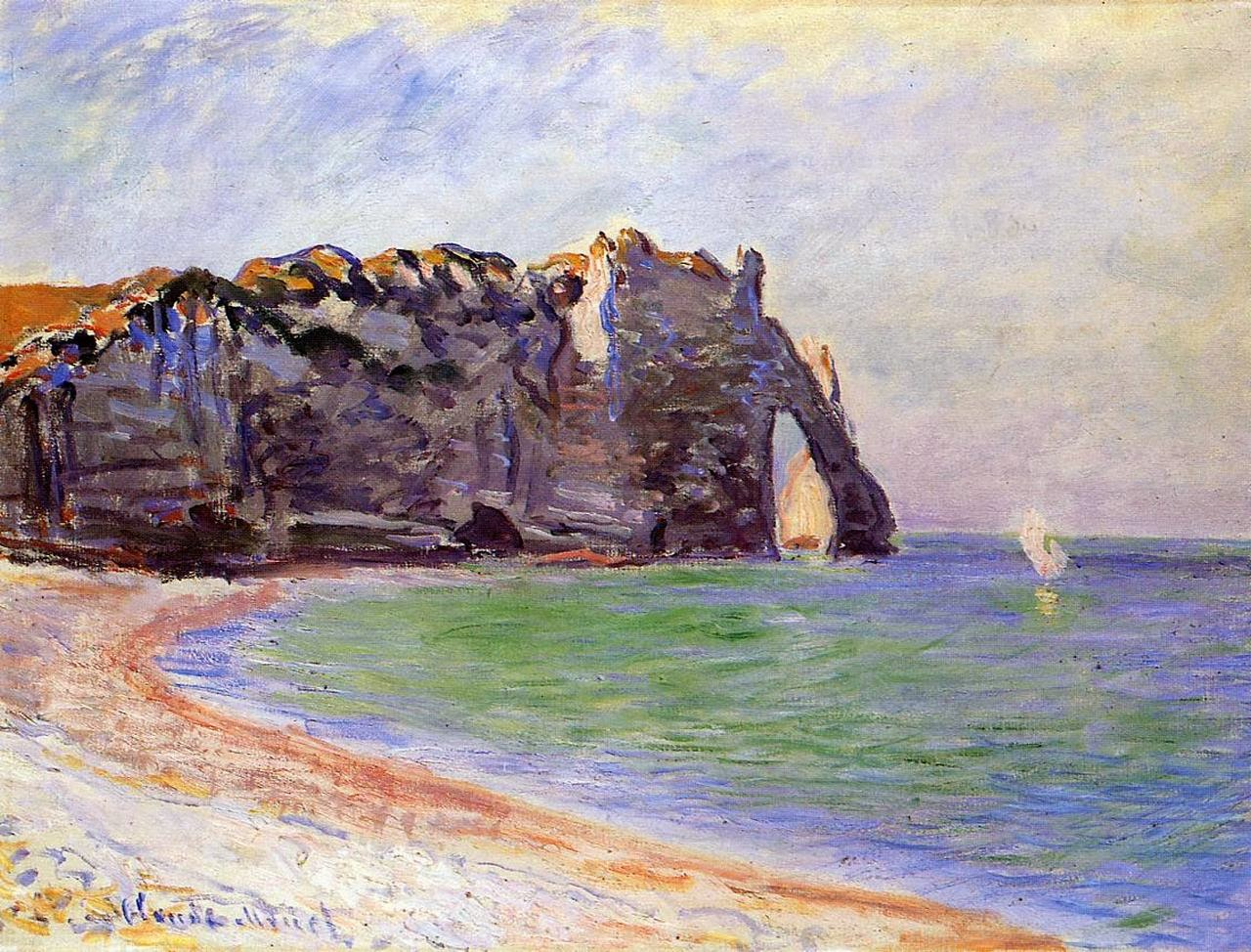 скалы и море < Этрета, порт д'Аваль >:: Клод Моне, описание картины - Моне Клод (Claude Monet) фото