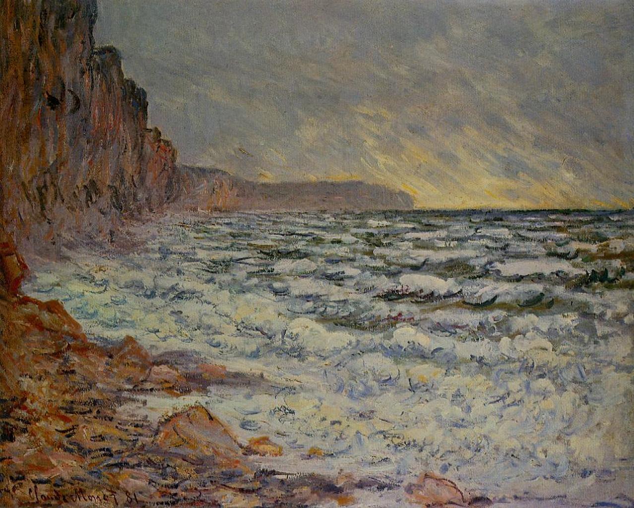скалы и море < Фекам, побережье моря >:: Клод Моне, описание картины - Claude Monet фото