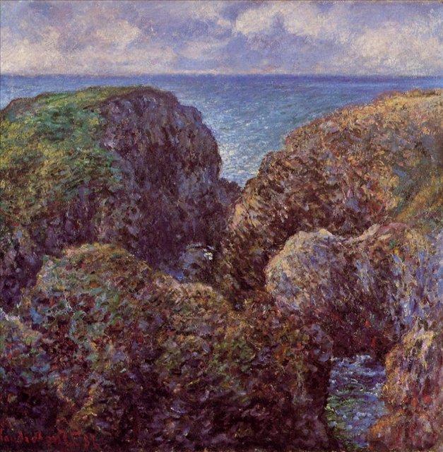 скалы и море < Груда камней, Порт-Гульфар >:: Клод Моне, описание картины - Claude Monet фото