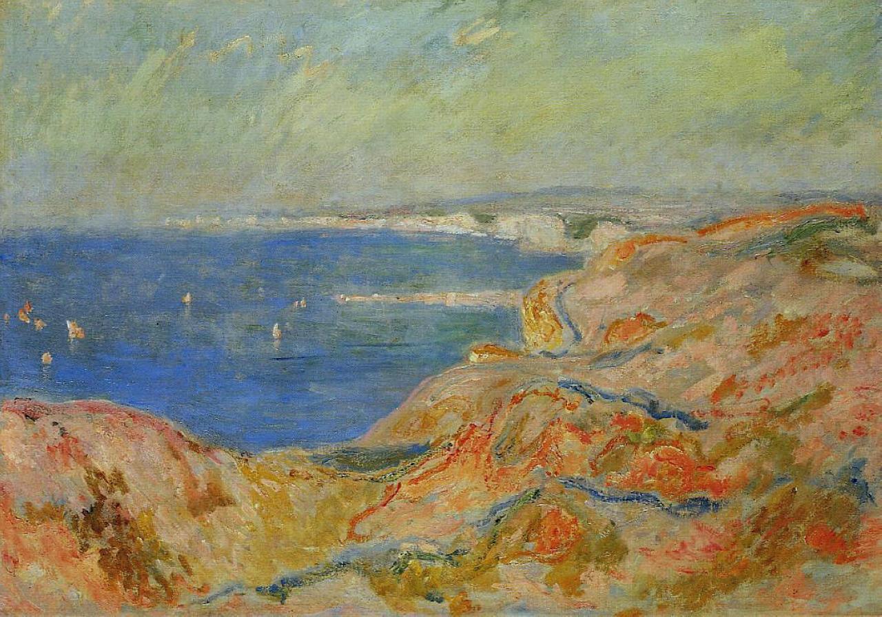 скалы и море < На скале рядом с Дьеппом >:: Клод Моне, описание картины - Моне Клод (Claude Monet) фото