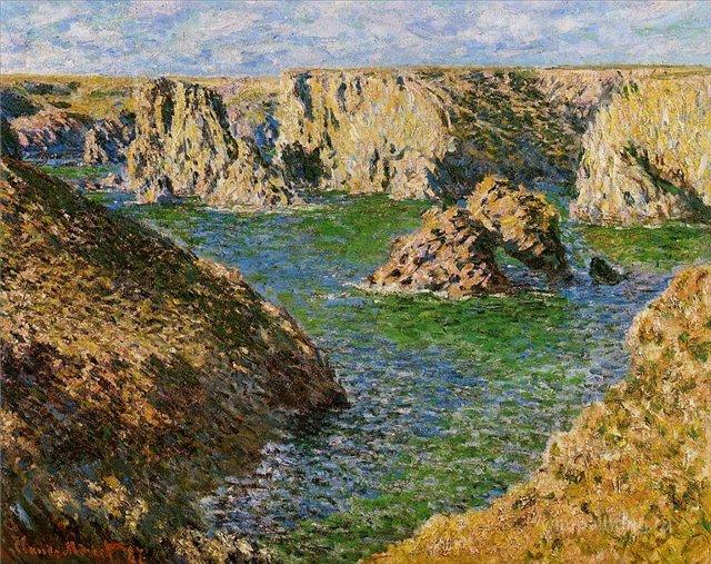 скалы и море < Порт Доннант >:: Клод Моне, описание картины - Claude Monet фото