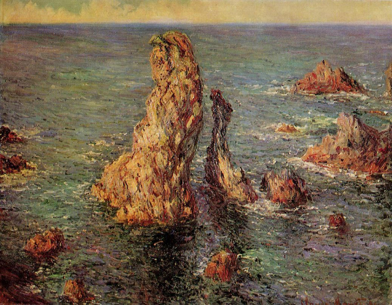 скалы и море < Пирамиды, порт Котон >:: Клод Моне, описание картины - Моне Клод (Claude Monet) фото