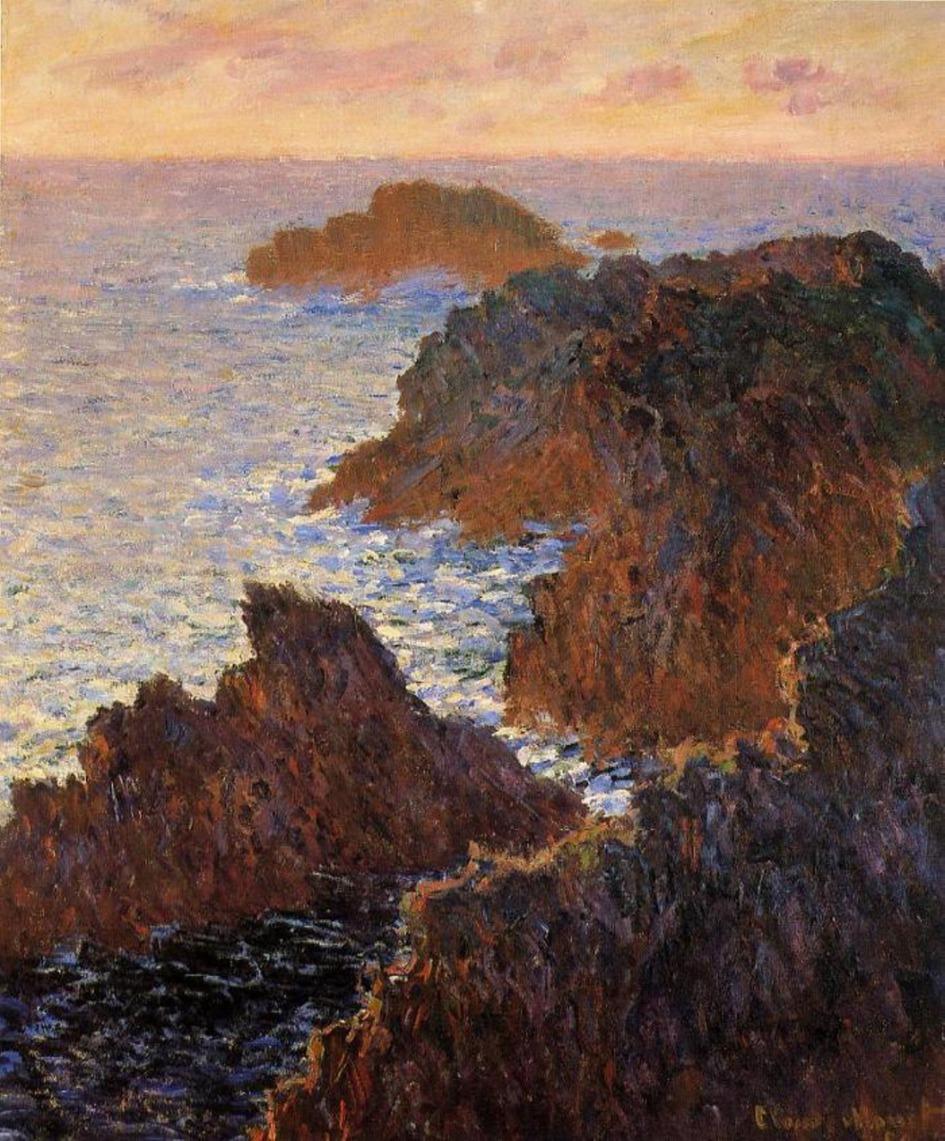 скалы и море < Камни, порт-Домуа>:: Клод Моне, описание картины - Claude Monet фото
