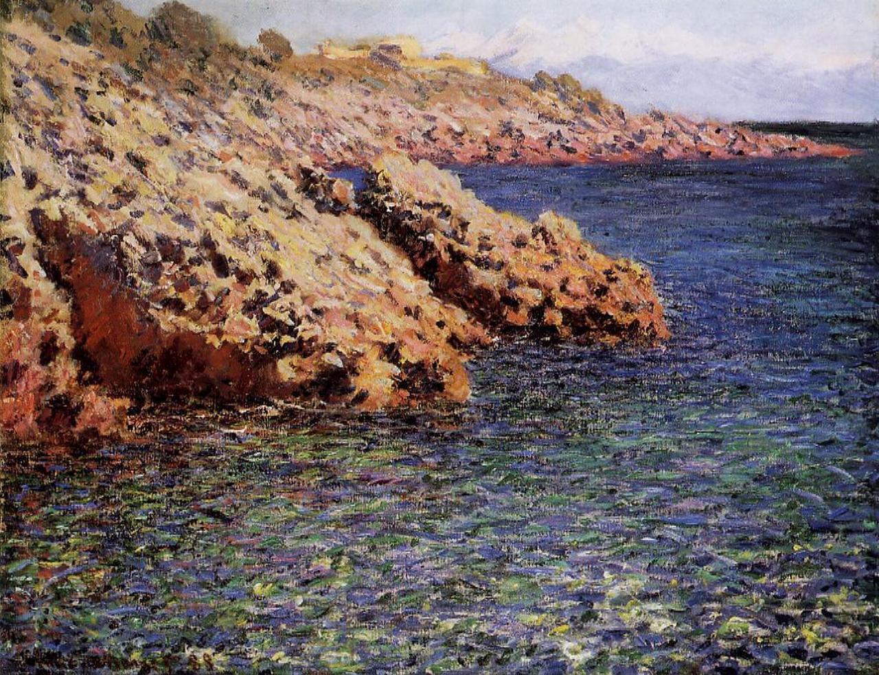 скалы и море < Камни на берегу Средиземного моря>:: Клод Моне, описание картины - Claude Monet фото