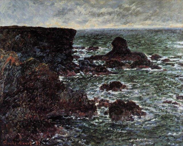 скалы и море < Камни на побережье и Лев-Камень >:: Клод Моне, описание картины - Моне Клод (Claude Monet) фото