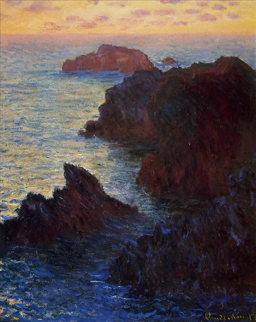 скалы и море < Камни в Порт-Гульфар >:: Клод Моне, описание картины - Claude Monet фото
