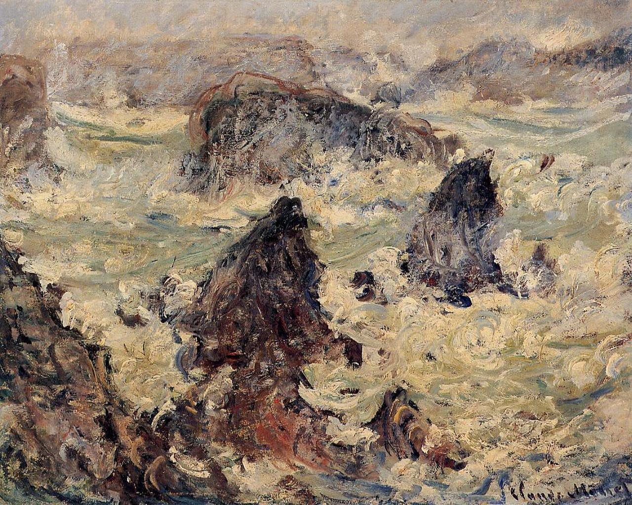 скалы и море < Шторм >:: Клод Моне, описание картины - Claude Monet фото