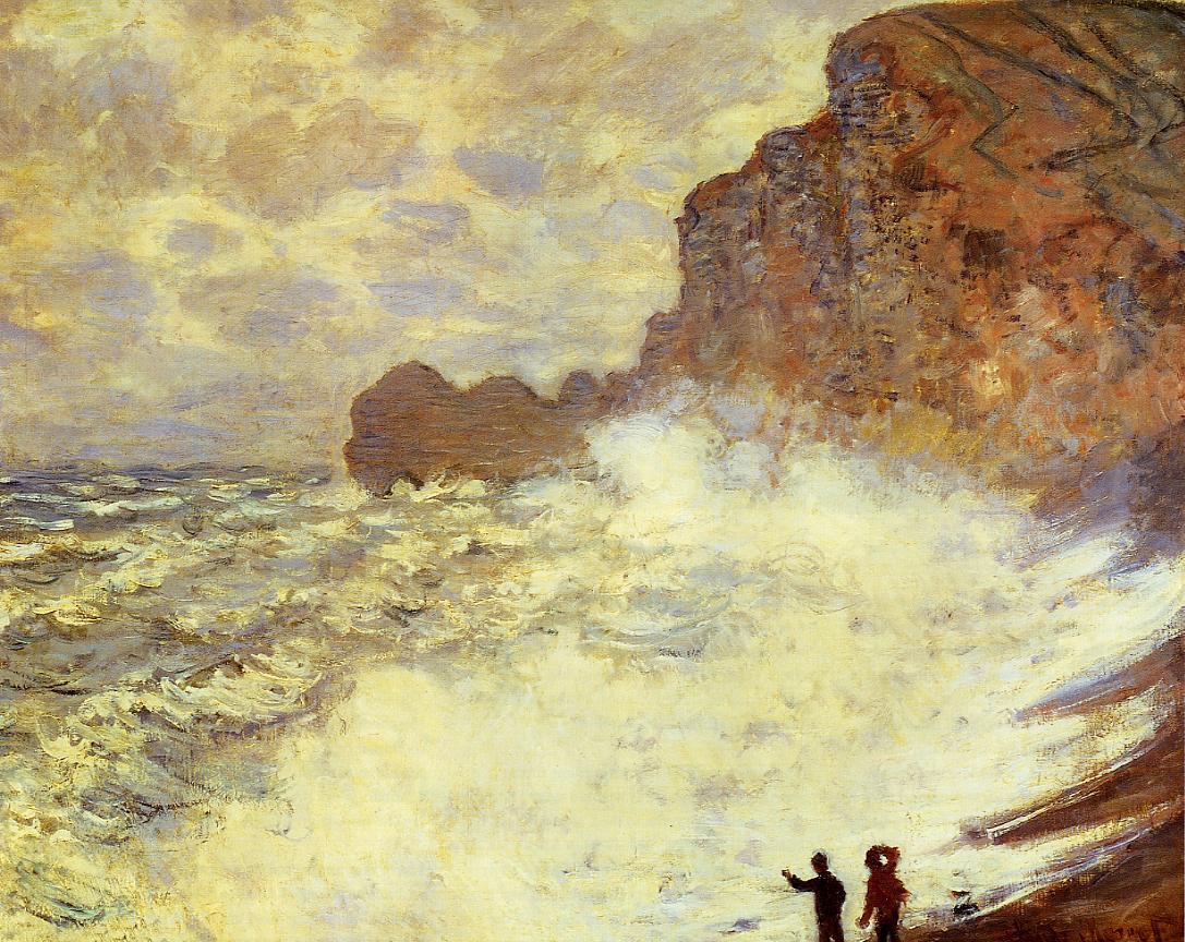 картина  Ветреный день. Этрета :: Клод Моне, описание картины - Моне Клод (Claude Monet) фото