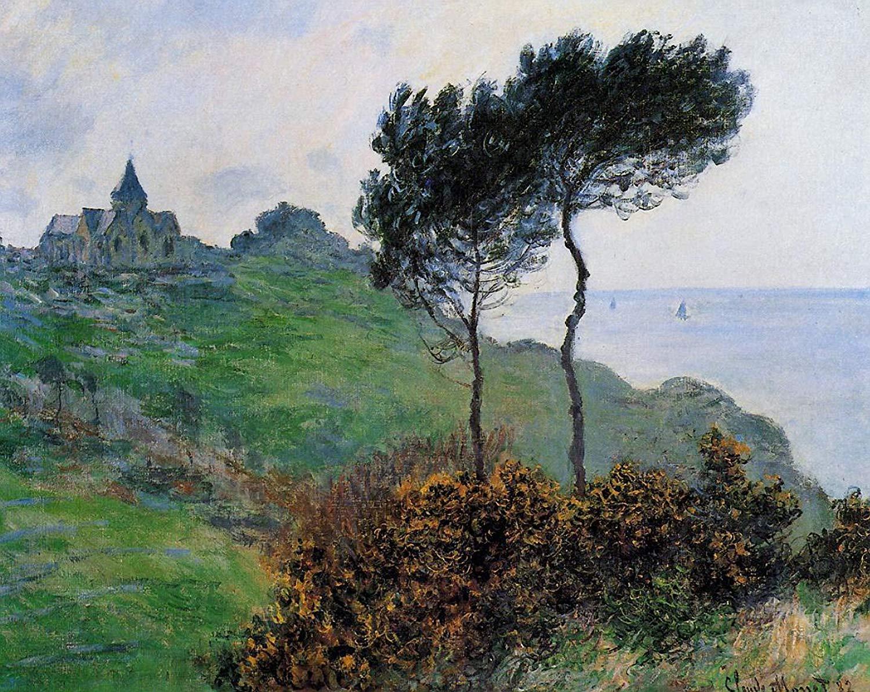 скалы и море < Церковь в Варенживилле, пасмурная погода >:: Клод Моне, описание картины - Claude Monet фото