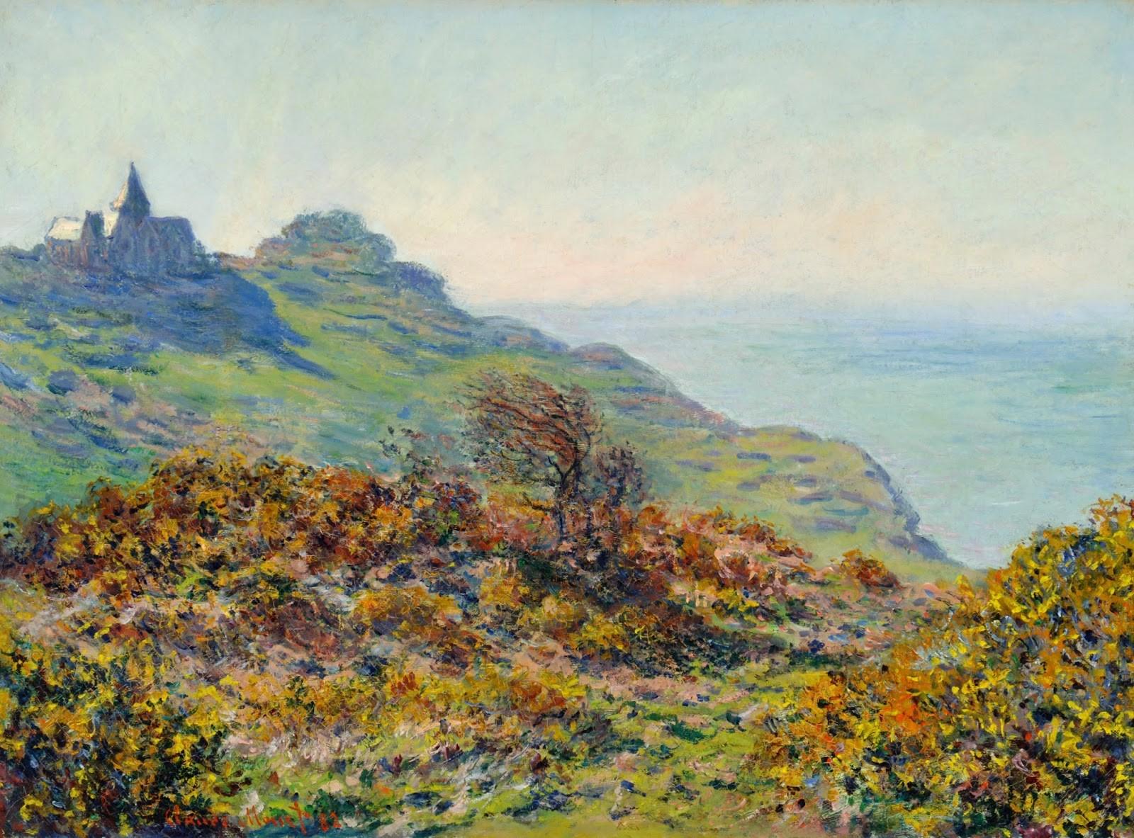 скалы и море < Церковь в Варенживилле и ущелье Мутие >:: Клод Моне, описание картины - Claude Monet фото