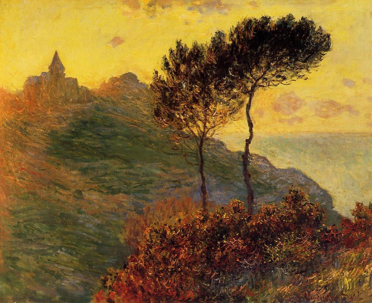 скалы и море < Церковь в Варенживилле на закате >:: Клод Моне, описание картины - Claude Monet фото