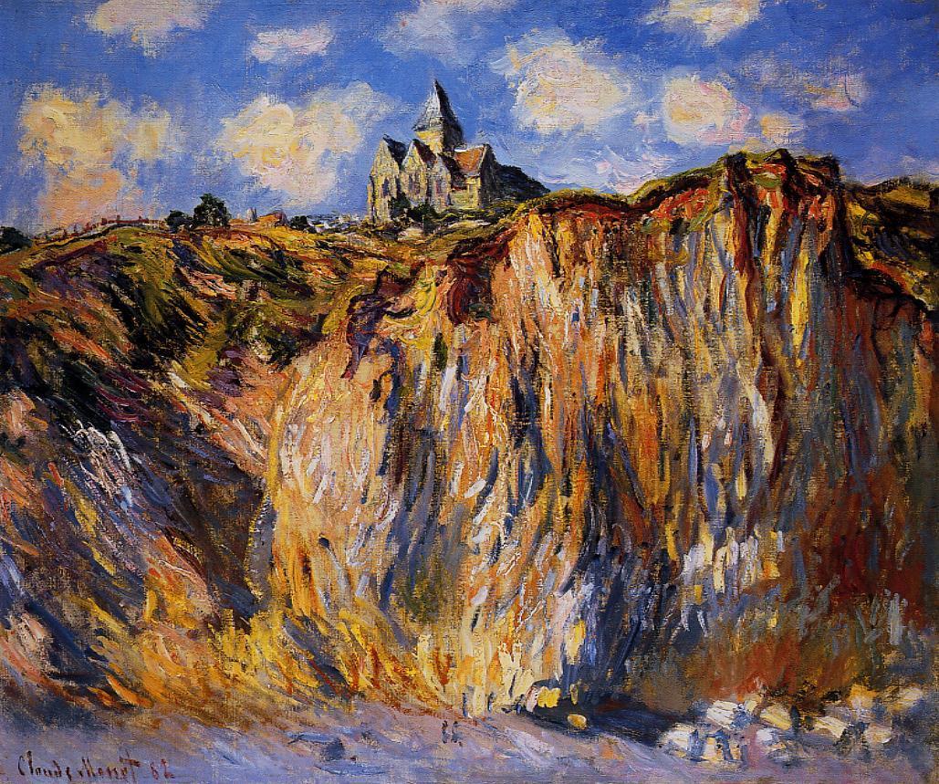 скалы и море < Церковь в Варенживилле, утро >:: Клод Моне, описание картины - Claude Monet фото