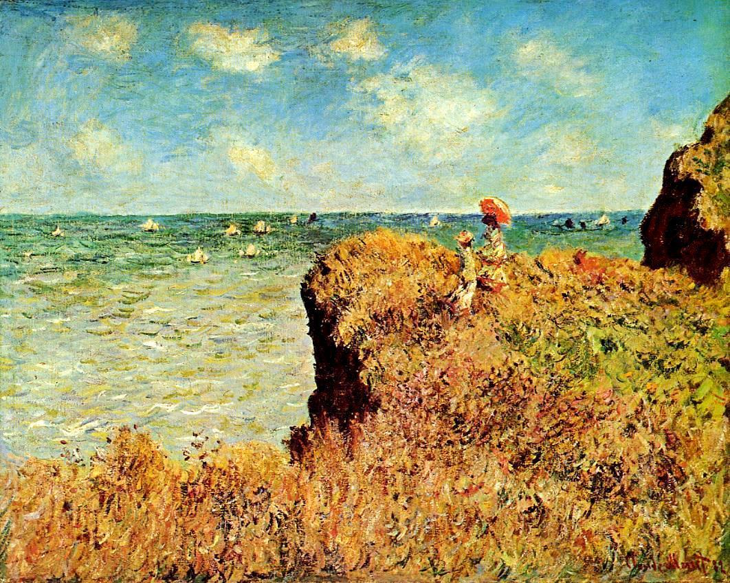 скалы и море < Прогулка по скалам, Пурвилль >:: Клод Моне, описание картины - Моне Клод (Claude Monet) фото