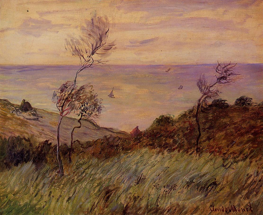 скалы и море < Скалы Варенживилль, ветер >:: Клод Моне, описание картины - Claude Monet фото