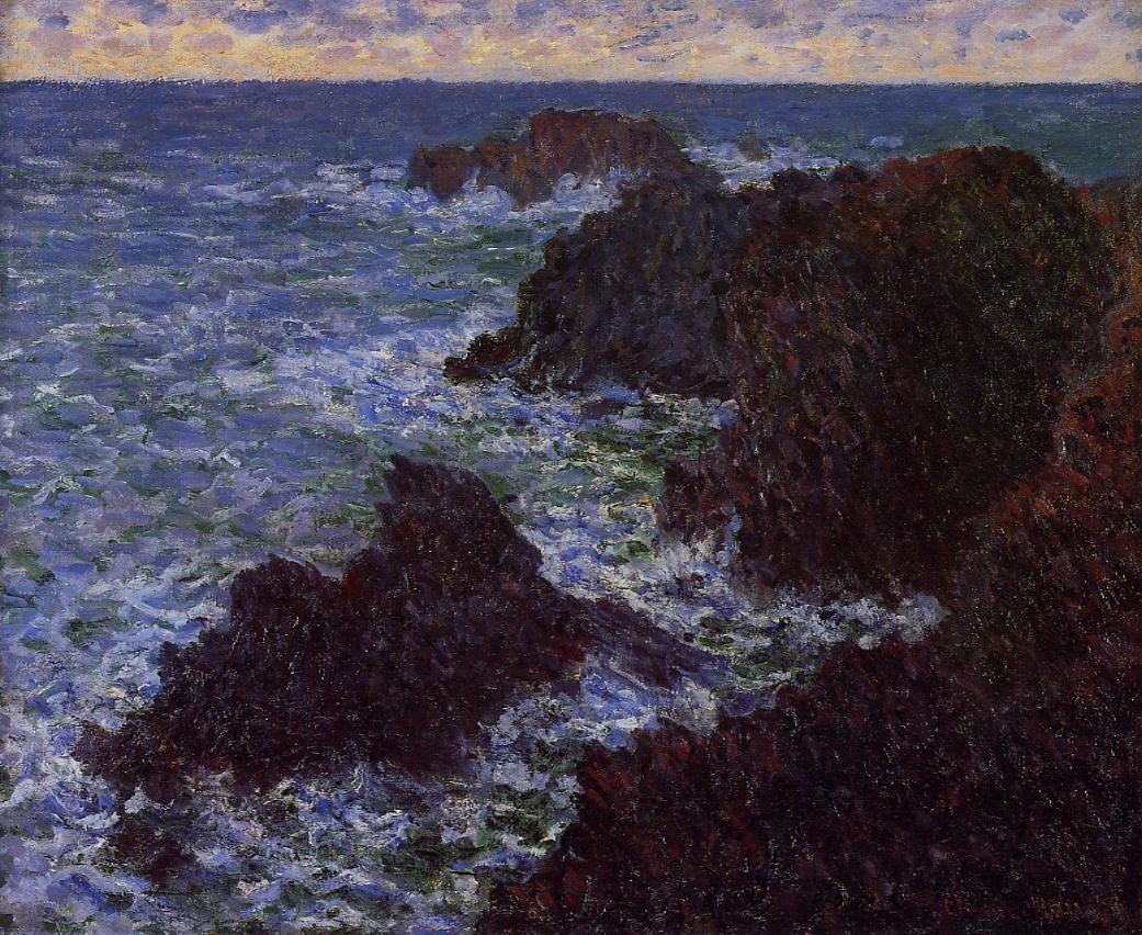 скалы и море < Скалы ночью >:: Клод Моне, описание картины - Claude Monet фото