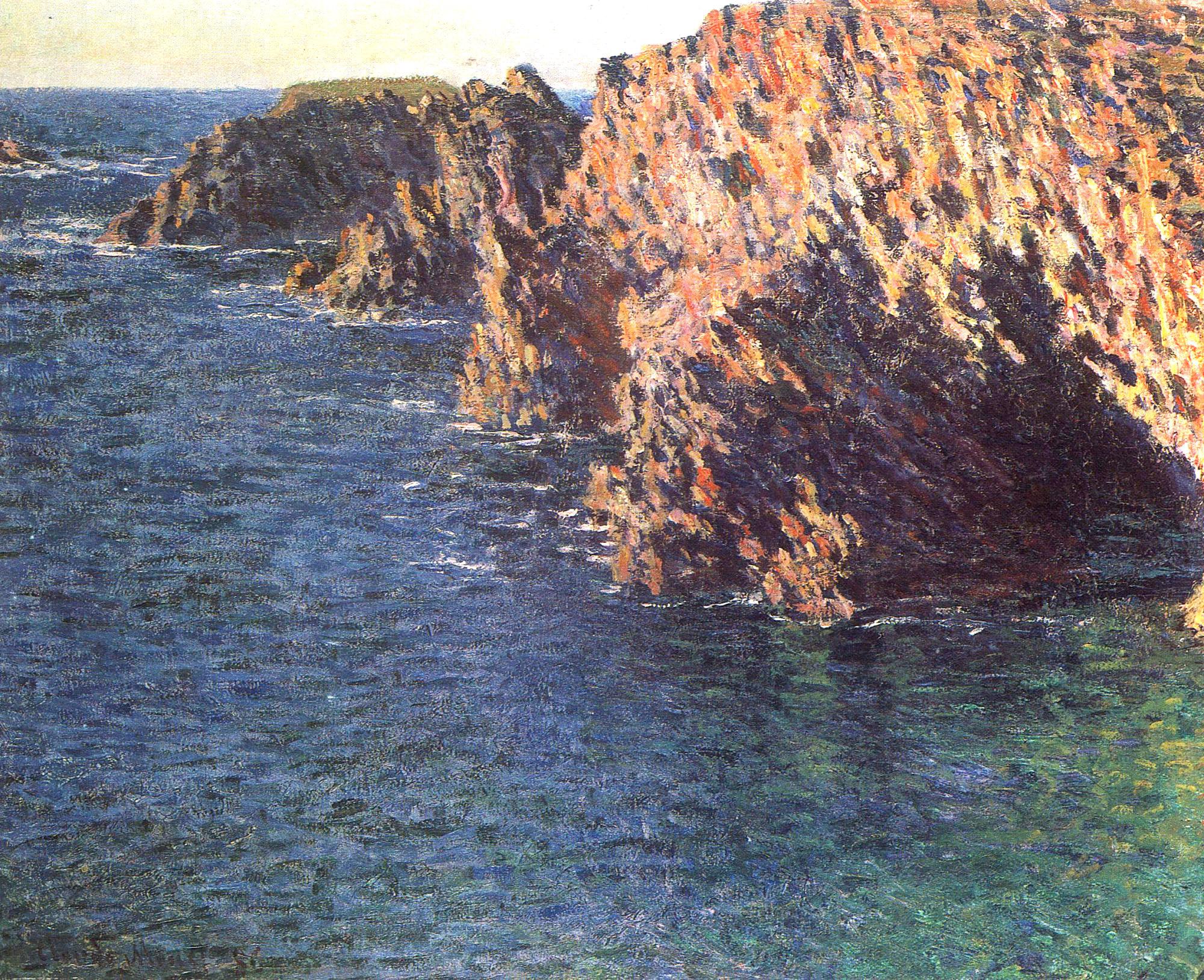 скалы и море < Грот Порт-Домуа >:: Клод Моне, описание картины - Claude Monet фото