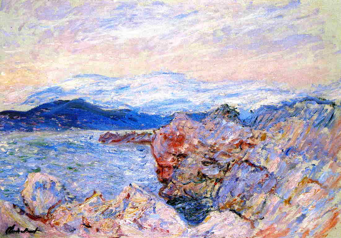скалы и море < Морской залив в Антибе >:: Клод Моне, описание картины - Claude Monet фото