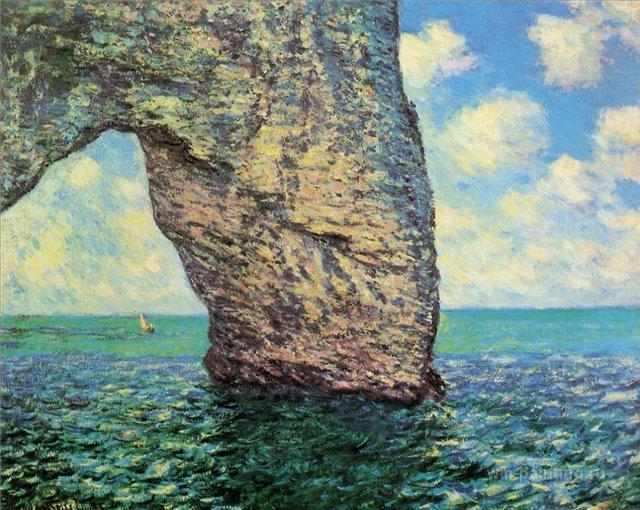 скалы и море < Маннепорт при сильном отливе >:: Клод Моне, описание картины - Моне Клод (Claude Monet) фото