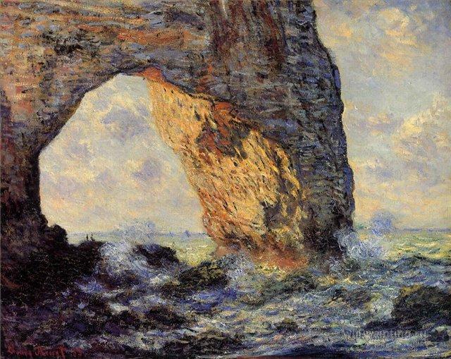 скалы и море < Маннепорт, Этрета >:: Клод Моне, описание картины - Claude Monet фото