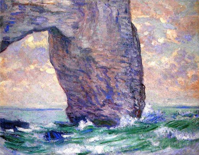 картина скалы и море < Маннепорт, вид снизу >:: Клод Моне, описание картины - Claude Monet фото