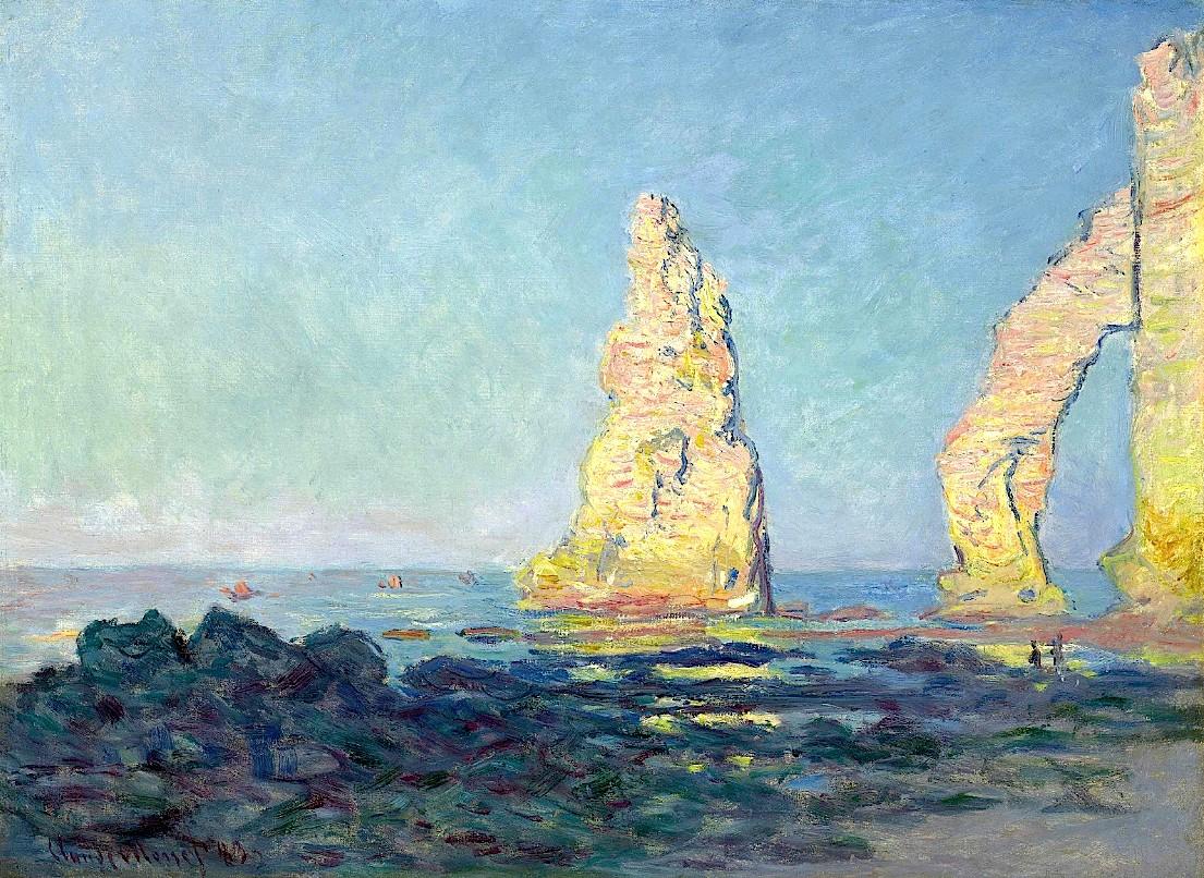 скалы и море < Игла Этрета, отлив >:: Клод Моне, описание картины - Claude Monet фото