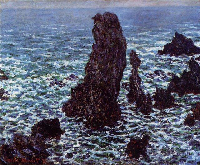 скалы и море < Пирамиды, Порт-Котон >:: Клод Моне, описание картины - Моне Клод (Claude Monet) фото