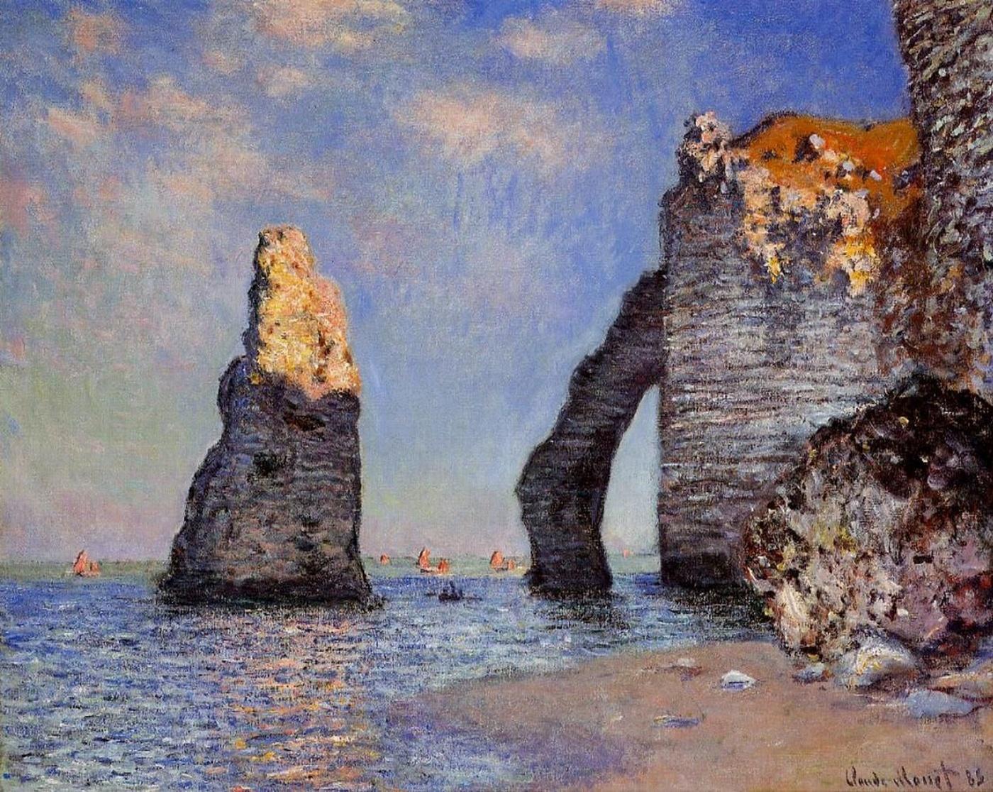 скалы и море < Камень-игла и порт д'Аваль >:: Клод Моне, описание картины - Моне Клод (Claude Monet) фото