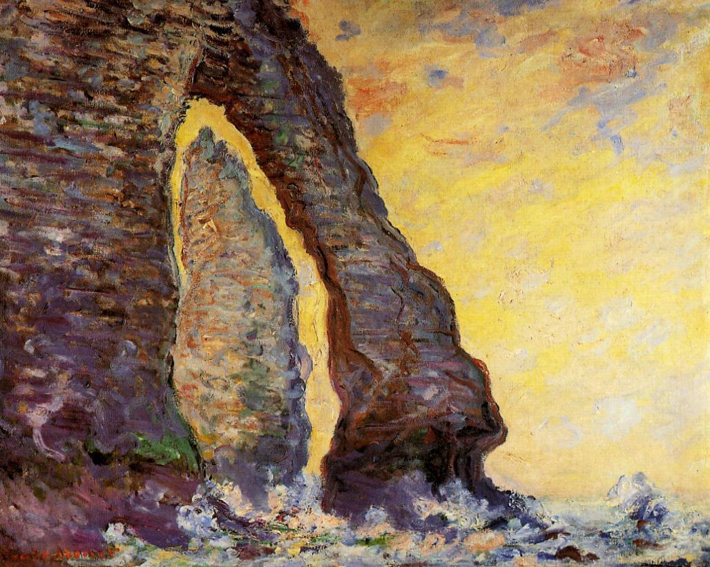 скалы и море < Камень-игла, вид сквозь Порт д'Аваль >:: Клод Моне, описание картины - Моне Клод (Claude Monet) фото