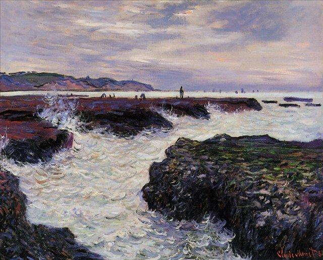 скалы и море < Камни во время отлива, Пурвилль >:: Клод Моне, описание картины - Claude Monet фото