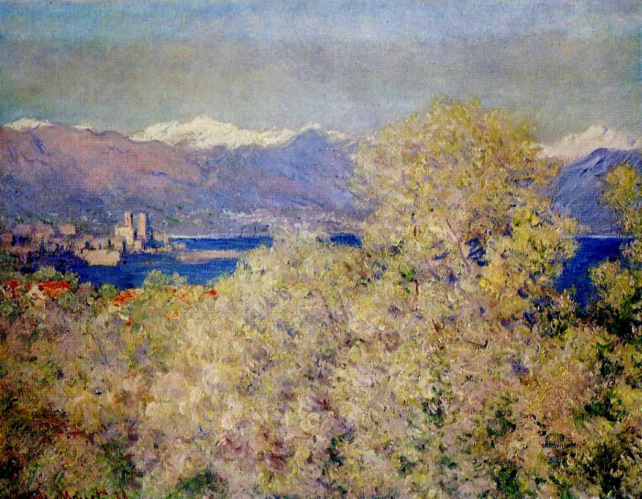 южные пейзажи < Антиб - виды садов Салис >:: Клод Моне, описание картины - Claude Monet фото
