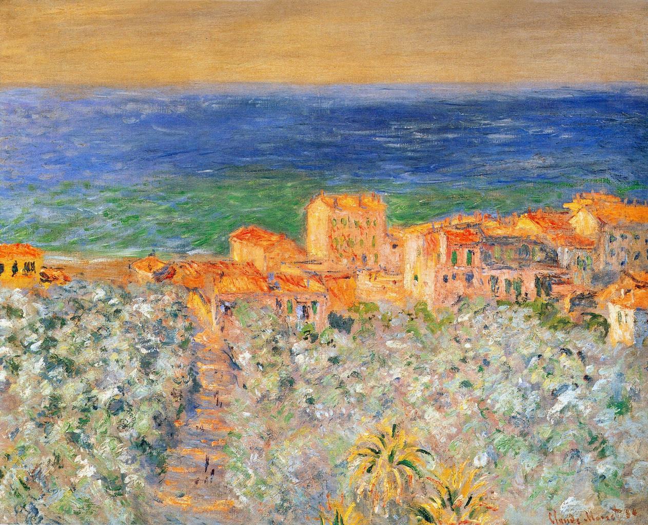 южные пейзажи < Прибрежное поселение в Бордигере >:: Клод Моне, описание картины - Claude Monet фото