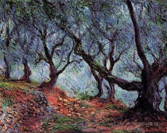 южные пейзажи < Оливковая роща в Бордигере >:: Клод Моне, описание картины - Моне Клод (Claude Monet) фото