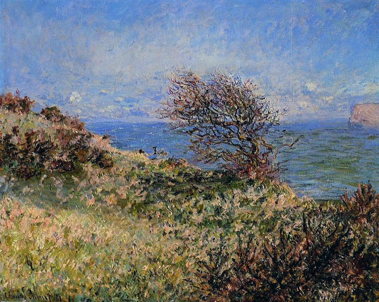 южные пейзажи < На утёсе в Фекаме >:: Клод Моне, описание картины - Моне Клод (Claude Monet) фото