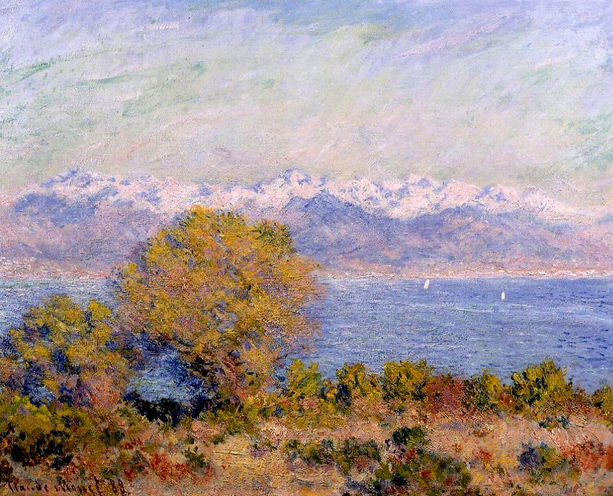 южные пейзажи < Альпы, вид с мыса Антиба >:: Клод Моне, описание картины - Моне Клод (Claude Monet) фото