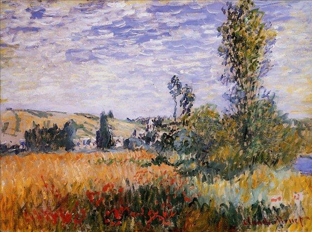 поле маков < Пейзаж в Витёе >:: Клод Моне, описание картины - Моне Клод (Claude Monet) фото