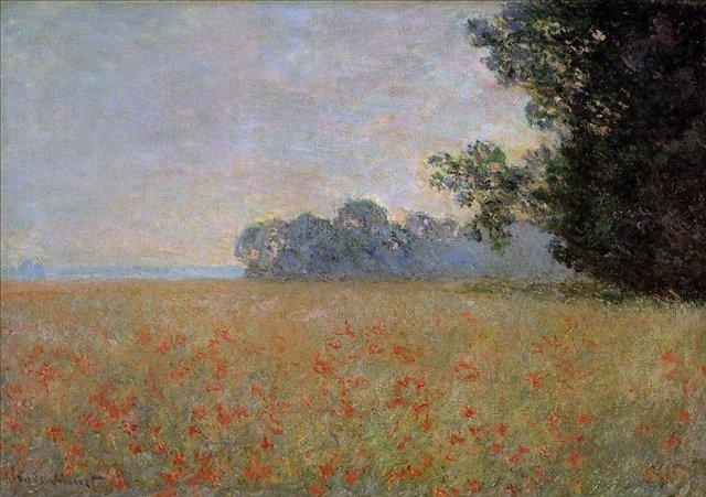 поле маков < Овёс и маковое поле >:: Клод Моне, описание картины - Claude Monet фото
