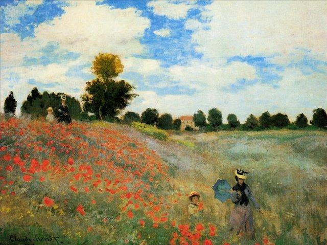 пейзаж Маки в Аржентёе :: Клод Моне, описание картины - Claude Monet фото