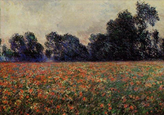 пейзаж  < Маки в Живерни >:: Клод Моне, описание картины - Claude Monet фото