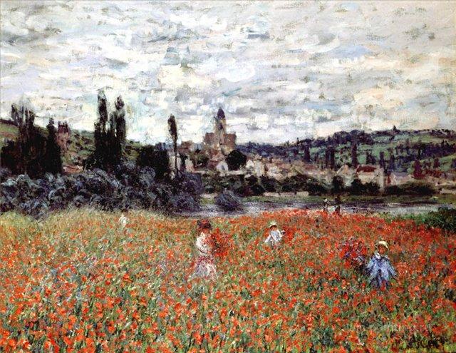 пейзаж  < Маки близ Витёя >:: Клод Моне, описание картины - Моне Клод (Claude Monet) фото