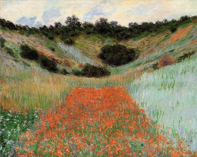 пейзаж  < Маковое поле в ложбинке близ Живерни>:: Клод Моне, описание картины - Claude Monet фото
