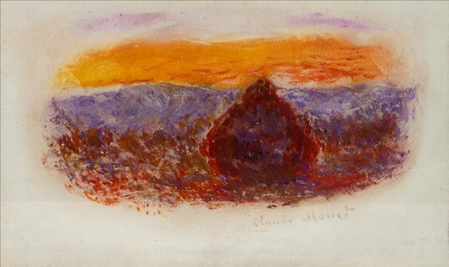 пейзаж < Стог сена на закате >:: Клод Моне, описание картины - Claude Monet фото