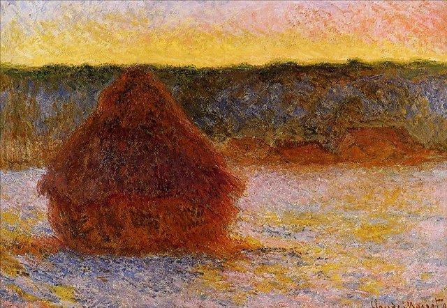 пейзаж Стог сена на закате, зима :: Клод Моне, описание картины - Claude Monet фото