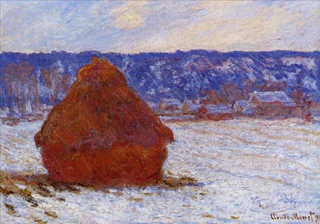 пейзаж < Стог сена в пасмурную погоду, выпал снег >:: Клод Моне, описание картины - Моне Клод (Claude Monet) фото