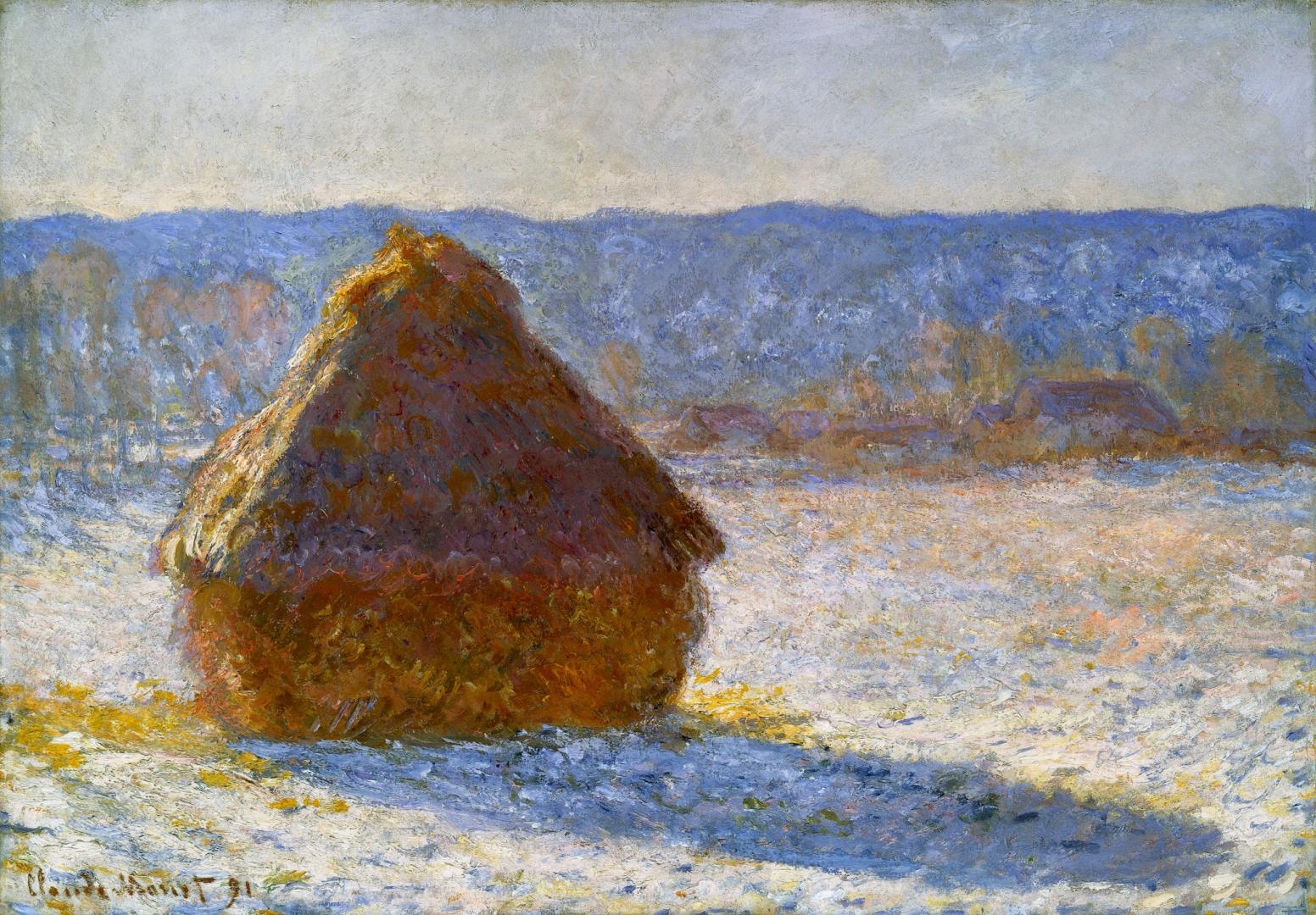 пейзаж < Стог сена утром, выпал снег >:: Клод Моне, описание картины - Claude Monet фото